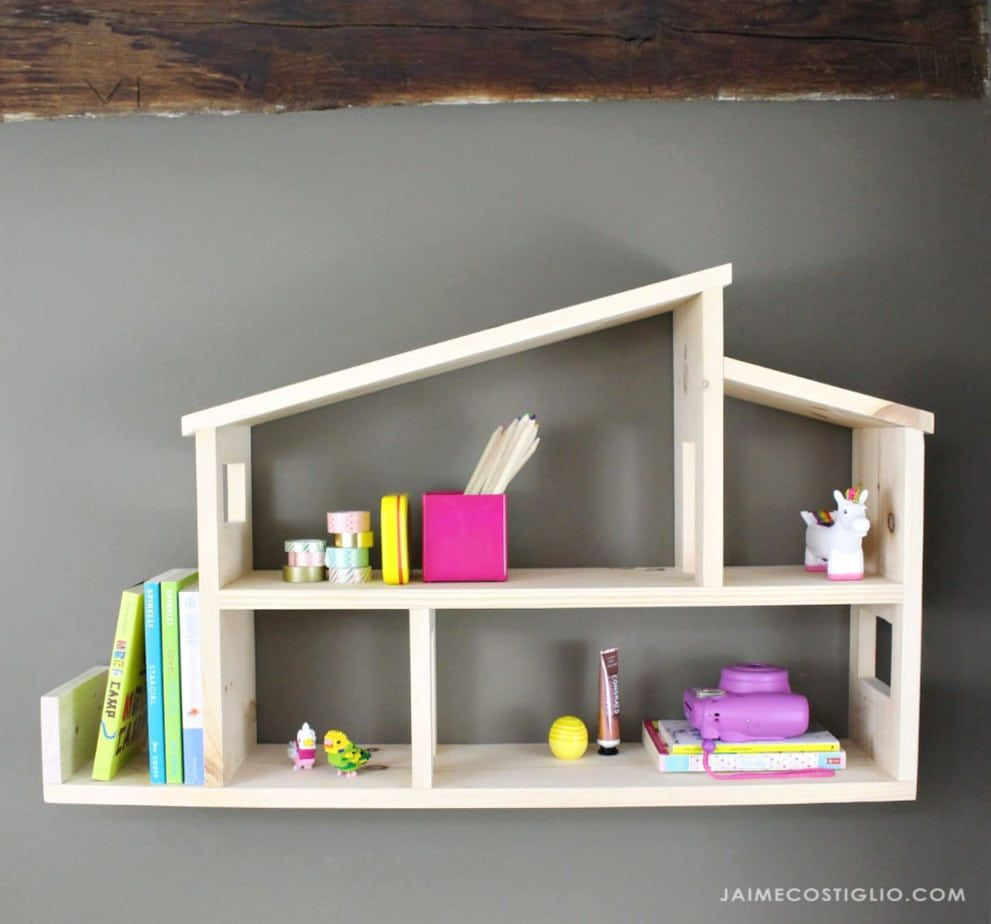 Diy Dollhouse Wall Shelf House Shelves Modern Wooden House Dollhouse Shelf