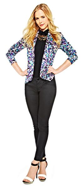 Don't be afraid to pair a BOLD blazer with black skinnies and cami. Get the look @ Target