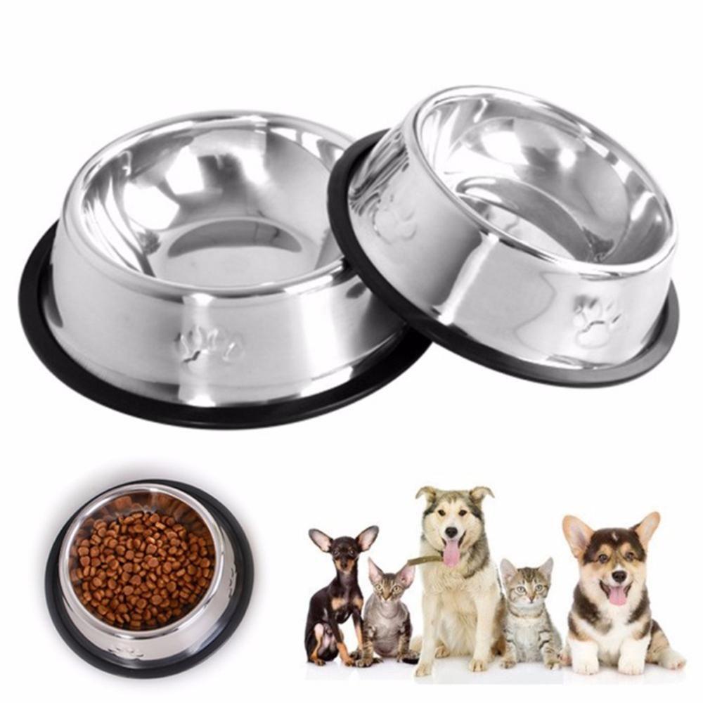 New Dog Cat Bowls Stainless Steel Travel Footprint Feeding Feeder