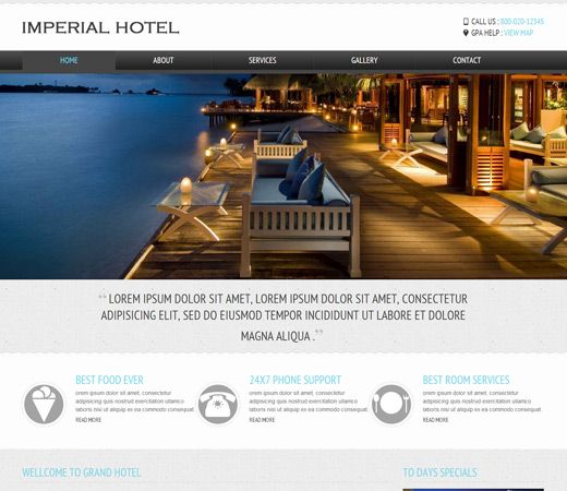 Imperial a Hotel Mobile Website Template | Free Hotel HTML Templates ...
