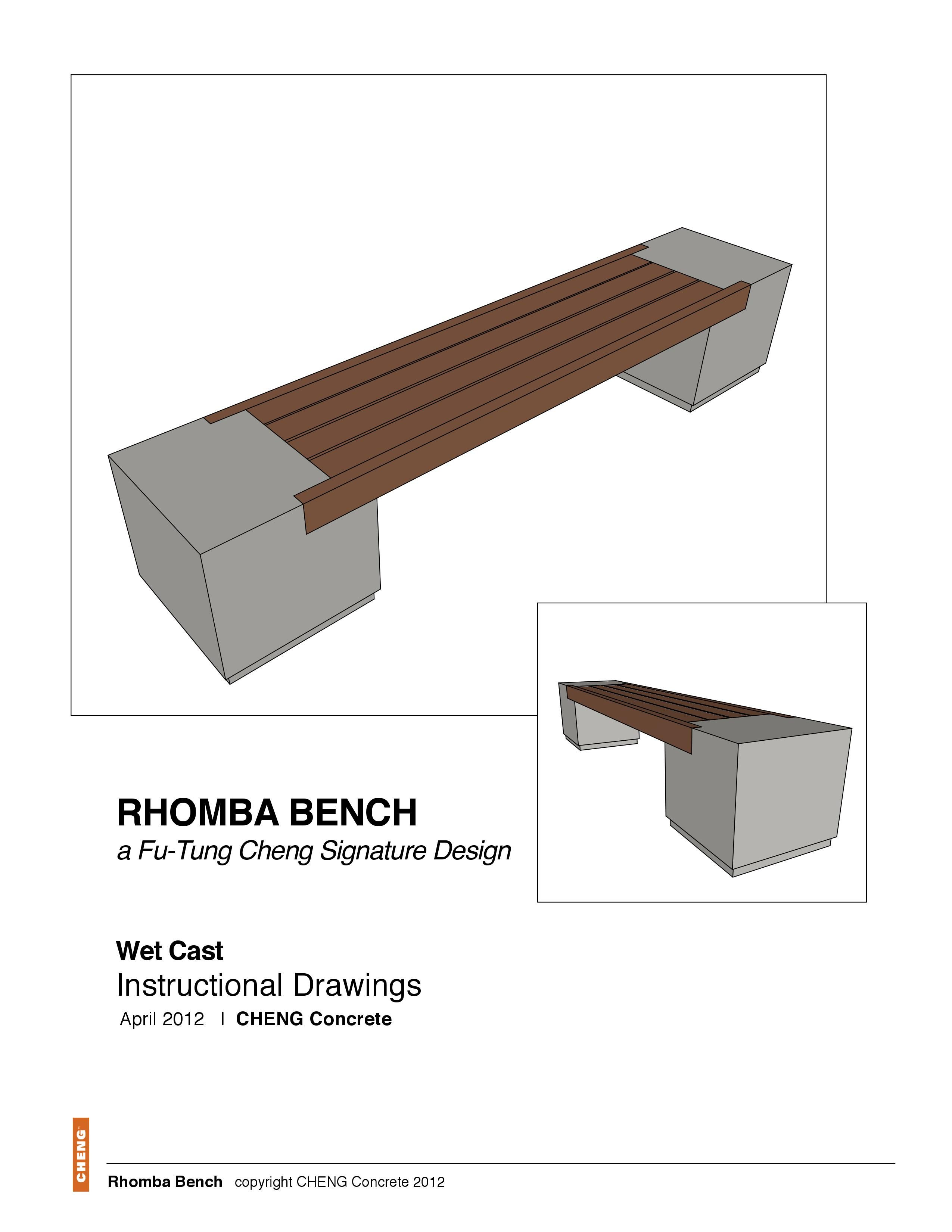 Cheng Concrete Exchange Drawings Rhomba Bench Wetcast Method