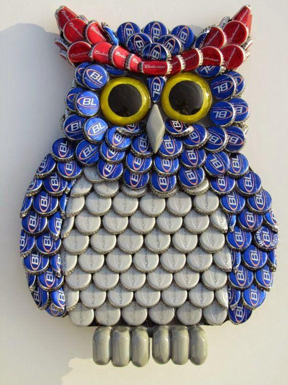 Manualidades ingeniosas con tapas de botellas Tapas, Owl and Craft