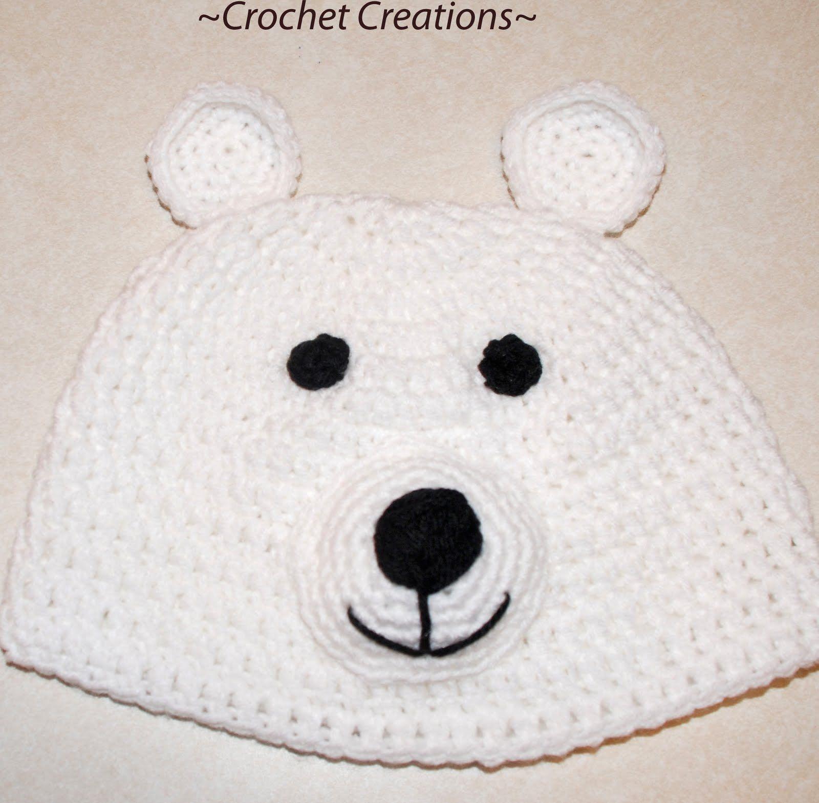Crochet Polar Bear Child Hat (All Sizes) | Pinterest