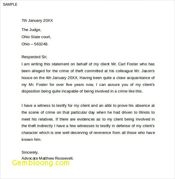 Character Witness Letter Example Luxury Character Witness Letter