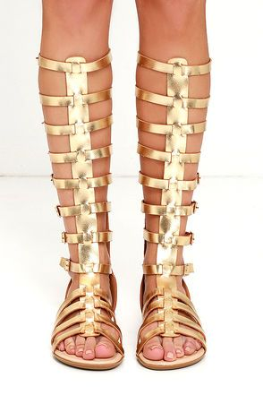 Alexandria Gold Tall Gladiator Sandals at Lulus.com! These are the shoes  exactly just ankle length. 942ee2240f2