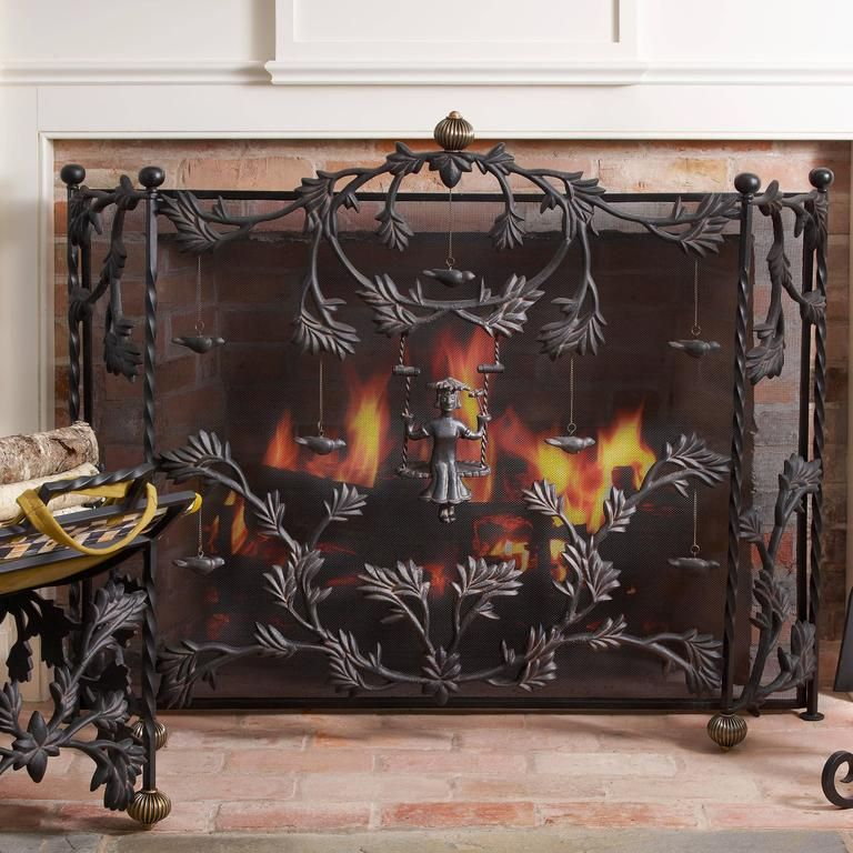 screen products veritas single black gdf studio panel iron fireplace