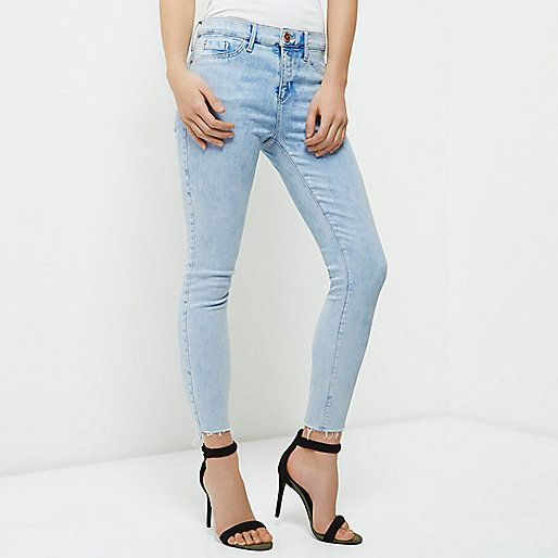 River Island - Petite light blue raw cut Molly Jeggings jeans | skinny fit,  mid