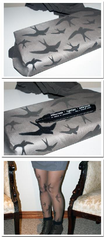 """Miu Miu inspired sparrow tights! via """"Made in Pretoria.""""    Download sparrow print here: http://junialoves.com/wp-content/uploads/2010/05/Miumiu-DIY1.jpg"""