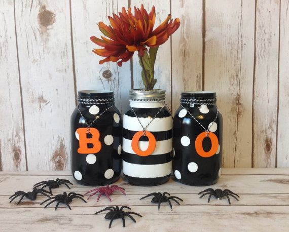 Hand Painted Halloween Mason Jars-Halloween Decor-Holiday - halloween decor images
