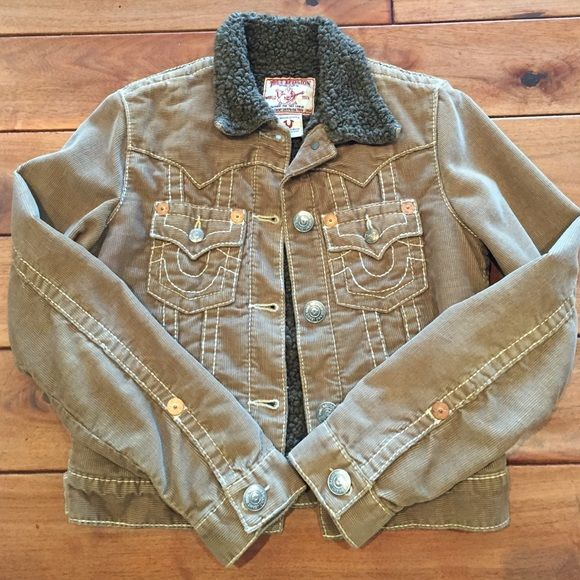 True Religion bomber Stay warm in this cute tan bomber! Lined with super soft shearling on the inside. Made in USA. True Religion Jackets & Coats Puffers