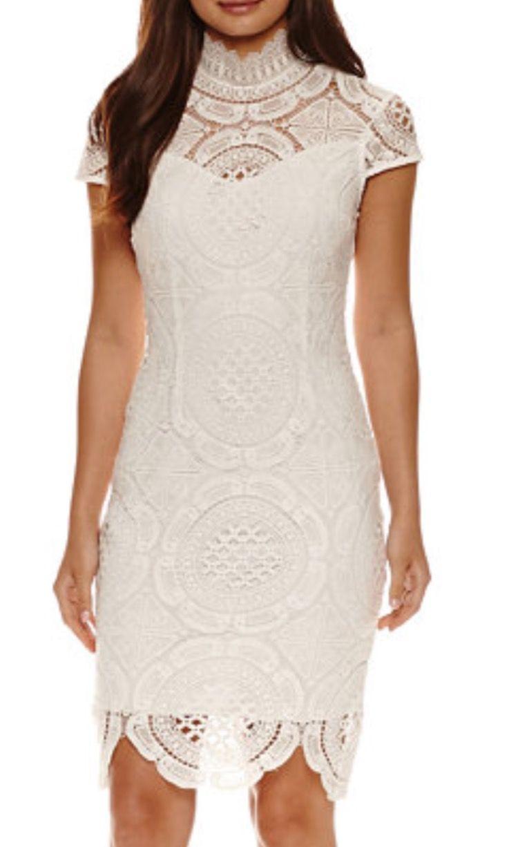 Boho Bohemian Lace Wedding Dress White Dress Bisou Bisou Short Sleeve Lace Sheath Dress Jcpenney Web Id 2193062 [ 1226 x 750 Pixel ]
