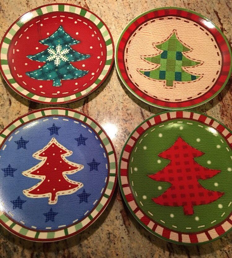 Christmas Dessert Plates Set of 4 Christmas Trees Storage Box & Christmas Dessert Plates Set of 4 Christmas Trees Storage Box ...