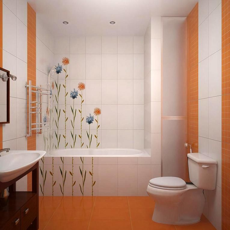 Aeedot Com Consider These Elements If You Want To Decorate Bathroom Exciting Bathroom Decoration Ideas With Unique Floral Wallpaper And White Orange