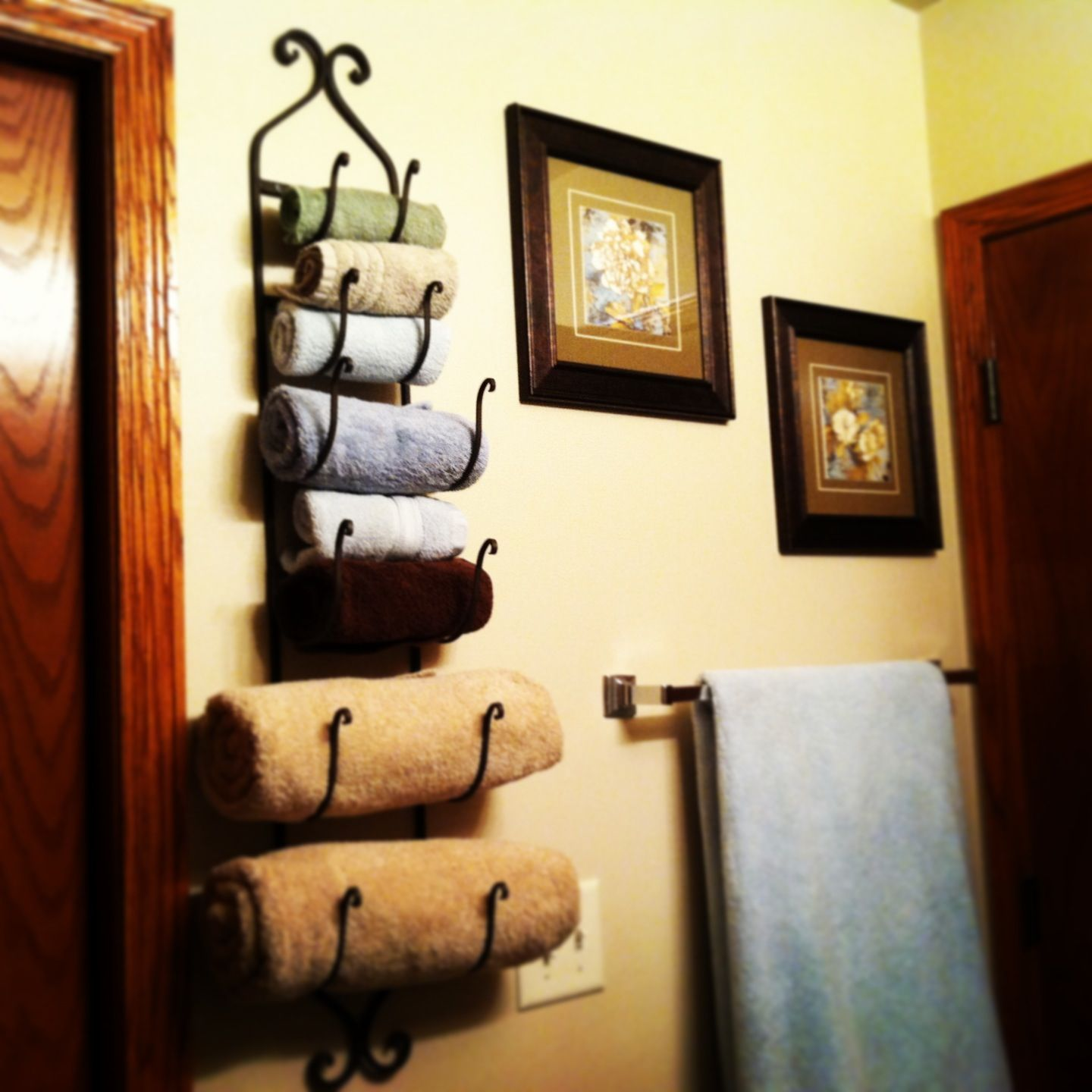 Wine Rack For Towels, More Space In Our Linen Closet