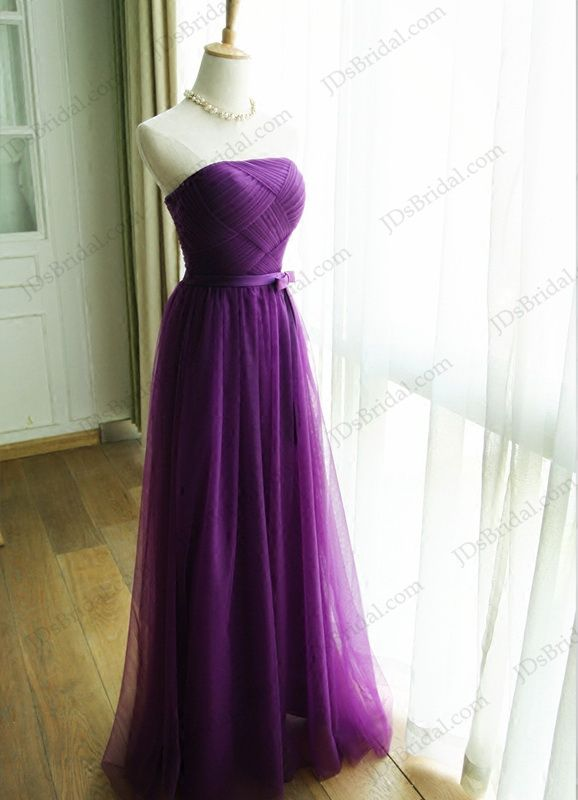 9e8a20a322d PD16034 Elegant strapless purple color long tulle prom evening bridesmaid  dress