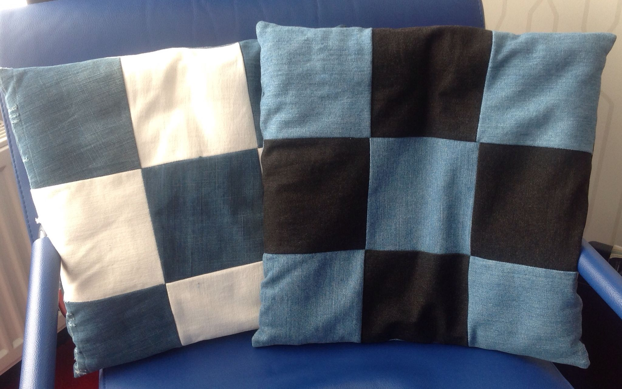 Jeans patchwork cushions.