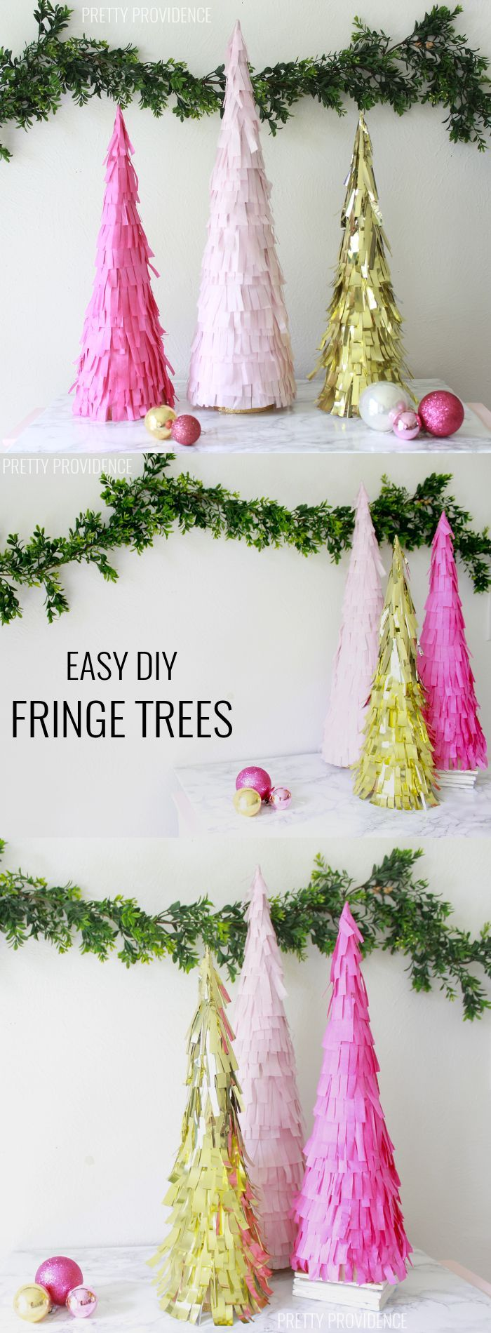 Diy fringe christmas trees tissue paper garlands and christmas tree