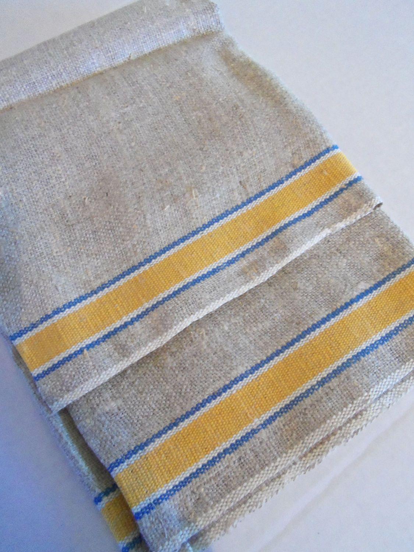 2 Vintage Unbleached Linen Natural Linen Dish Towels Blue Yellow