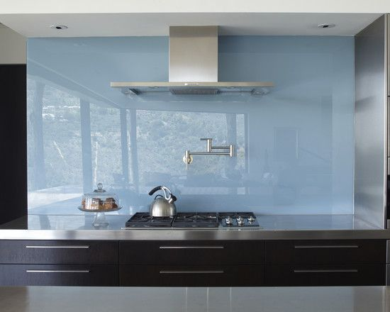 Blue Glass Backsplash With Potfiller Very Modern Contemporary