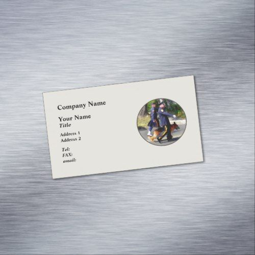 Policeman And Police Dog In Parade Business Card Magnet Zazzle Com Magnetic Business Cards Police Dogs Policeman