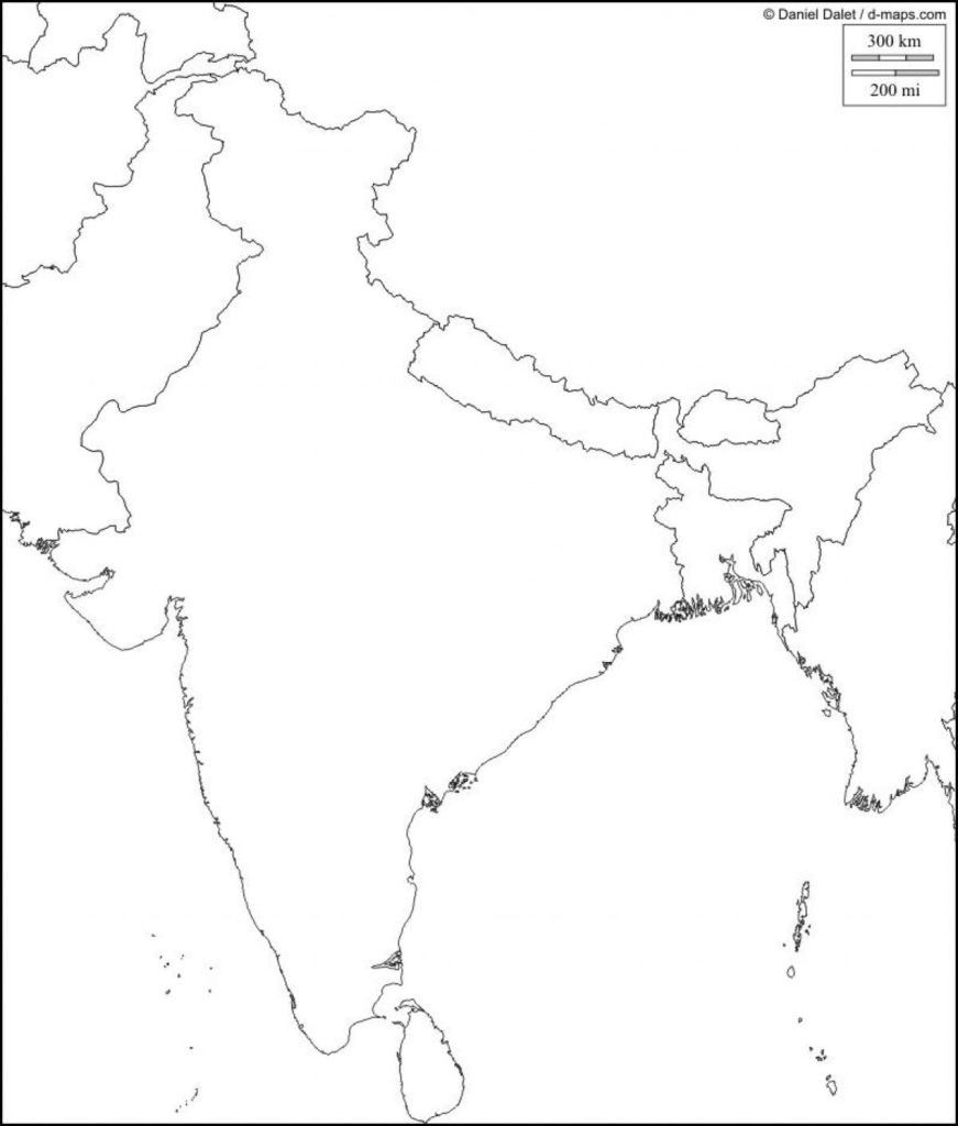 Physical Map Of India Blank Southern Within South Asia 871