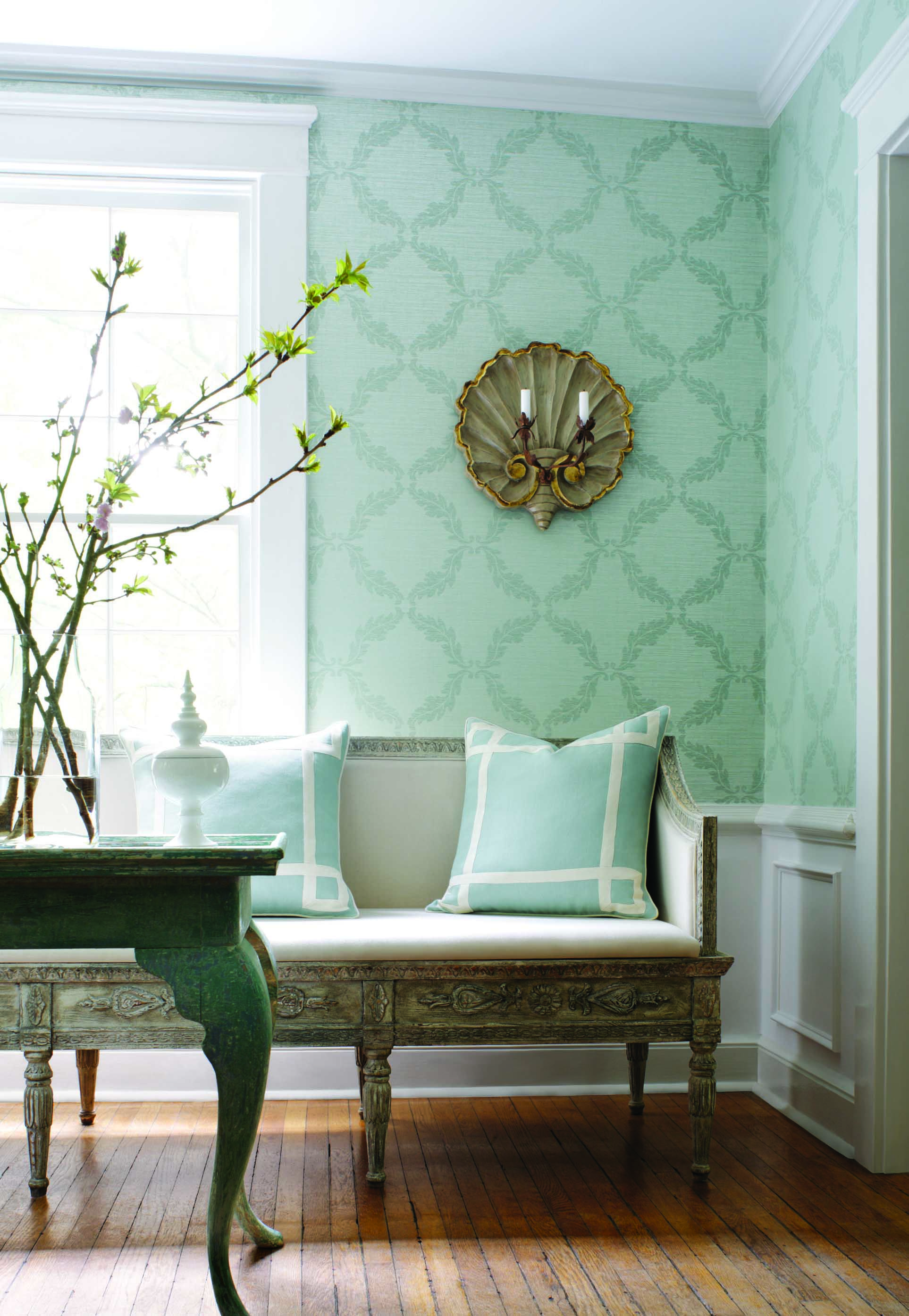 Antoine Trellis #Wallpaper In #Aqua From The Damask Resource 3