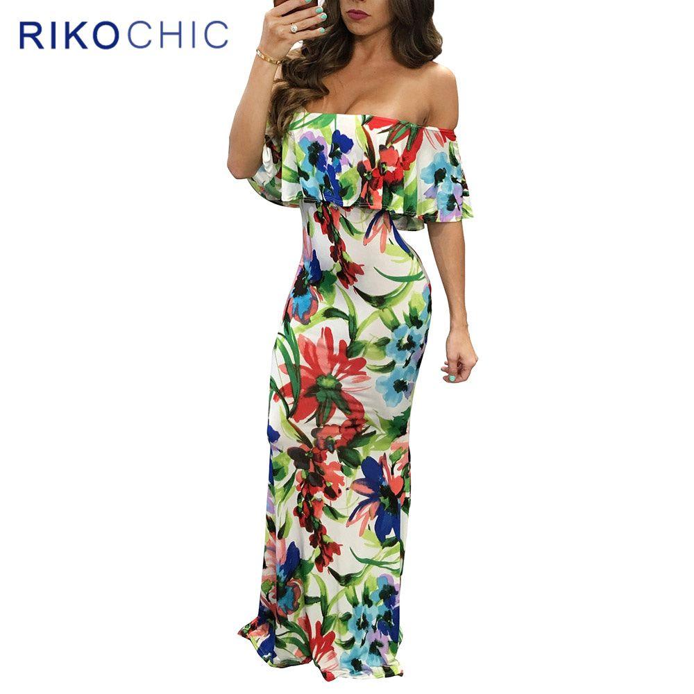 f6b96fe70f33 New Tropical Floral Print Ruffles Off Shoulder Sexy Party Dresses Summer  Women Elegant Long Maxi Dress Beach Vestidos longo F078    Details can be  found by ...