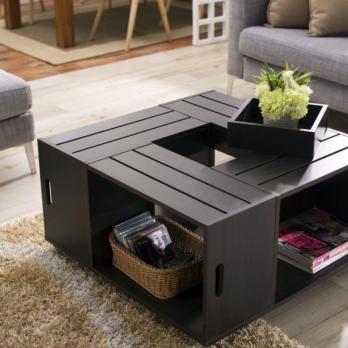 Furniture Of America Zuko Multi Storage Crate Coffee Table
