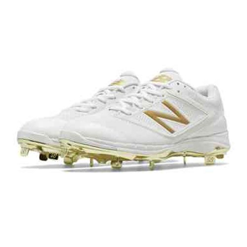 white and gold new balance baseball cleats