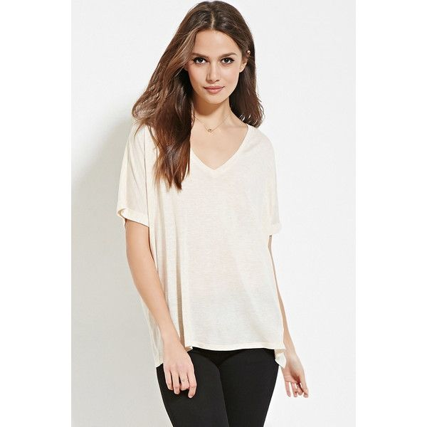 Love 21 Women's Contemporary V-Neck Cuffed Tee ($13) ❤ liked on Polyvore
