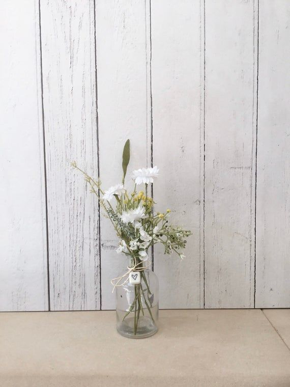 Faux Flower Gift, Daisy Arrangement in Glass Bottle, Artificial Floral Vase, Hom...#arrangement #artificial #bottle #daisy #faux #floral #flower #gift #glass #hom #vase