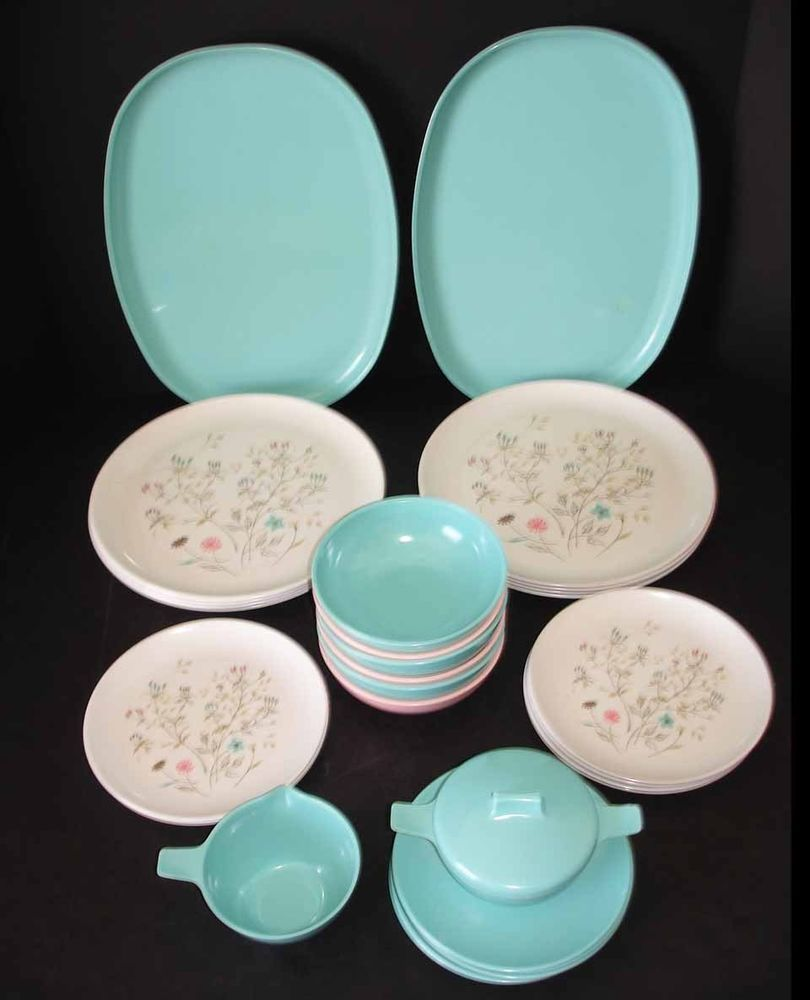 ovation by melmac melamine plastic dinnerware set dishes lot