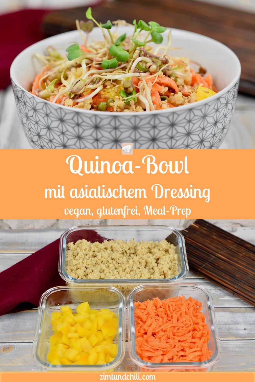 Quinoa-Bowl mit asiatischem Dressing - Zimt & Chili