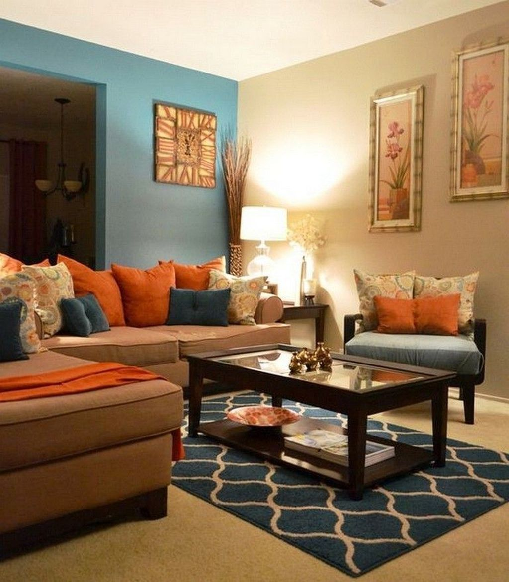 32 Attractive Living Room Design With Orange Color Themes For