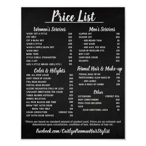 Salon Price List Poster Zazzle Com In 2020 Salon Price List Create Your Own Poster Home Hair Salons