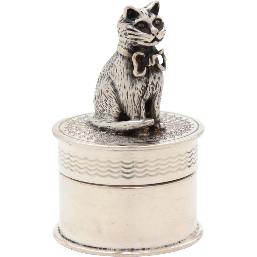 Miniature Sterling Cat Topped Box, Trinket or Pill Box