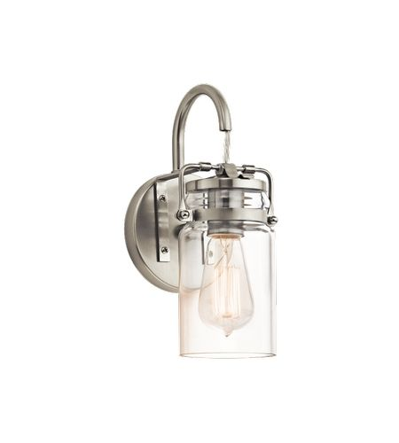 Kichler Brinley 1 Light Wall Sconce In Brushed Nickel 45576NI #kichler  #lightingnewyork #undercabinetlighting