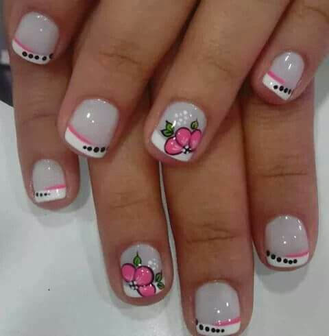 Unas Decoradas En Frances Y Flores Practica Nail Designs Short