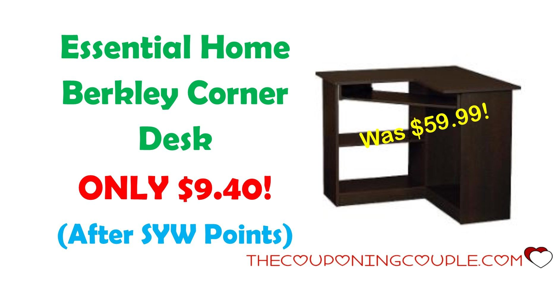 Don't miss out on this Essential home Berkley Corner Desk for ONLY $9.40 (was $59.99)! Perfect desk for a small area!  Click the link below to get all of the details ► http://www.thecouponingcouple.com/essential-home-berkley-corner-desk/ #Coupons #Couponing #CouponCommunity  Visit us at http://www.thecouponingcouple.com for more great posts!