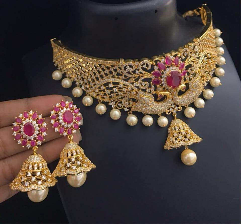 One gram gold choker designs gram gold jewellery pinterest