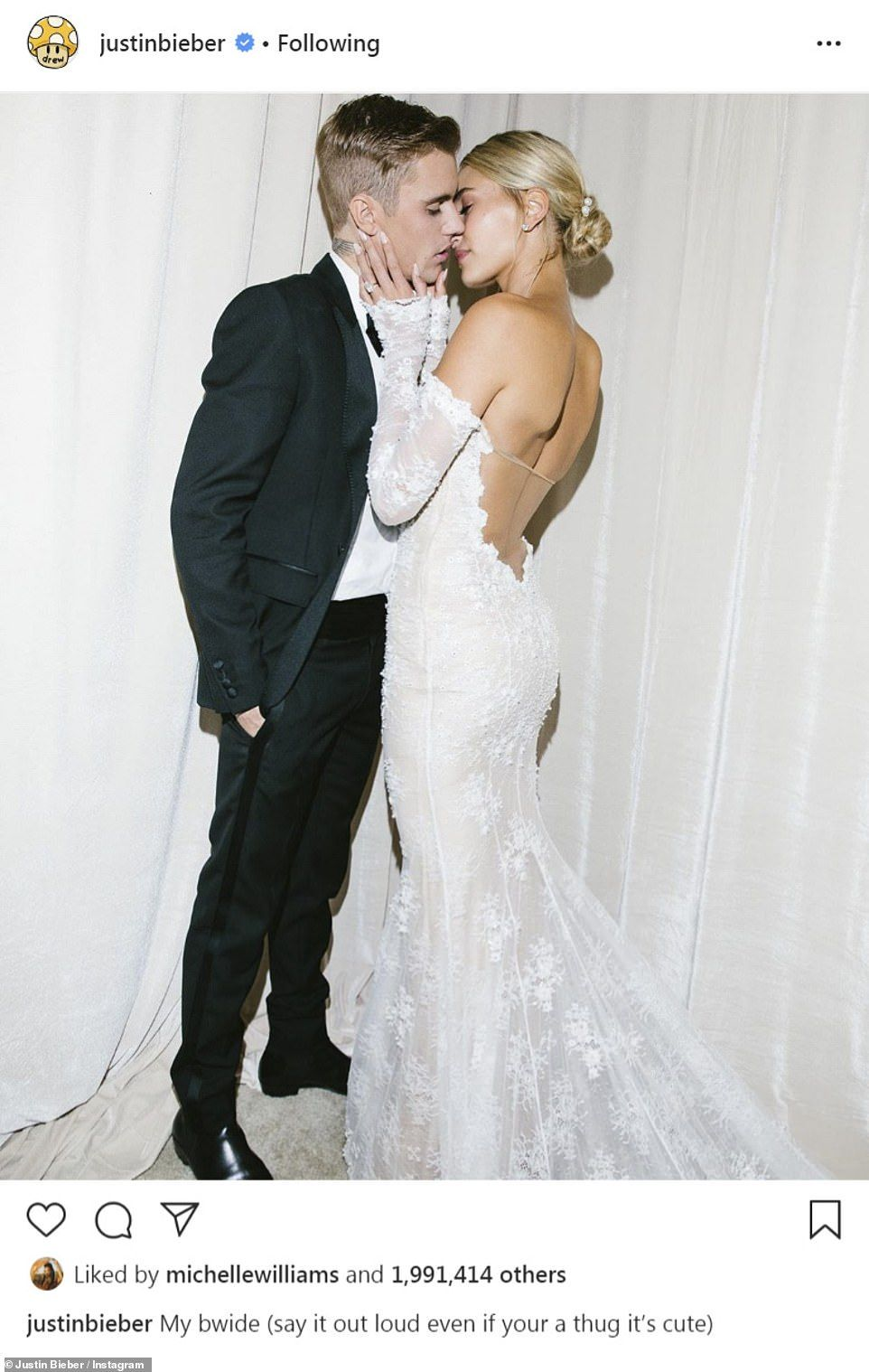 Justin and Hailey Bieber share official wedding portraits