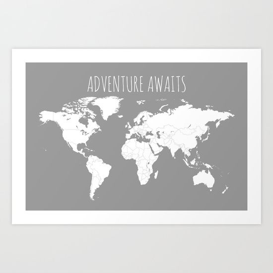 Adventure awaits world map travel map poster in grey art print gumiabroncs Gallery