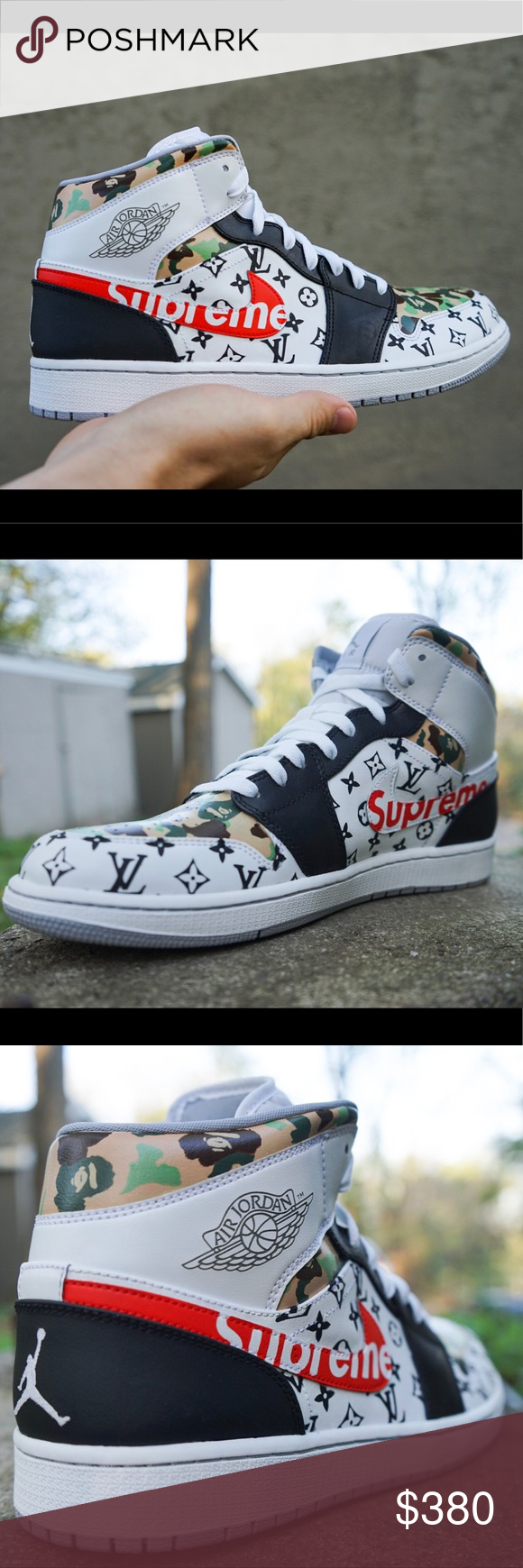 "654fe9035b4 Jordan 1's custom ""hypebeast"" Supreme x Bape x LV ""Hypebeast"" Custom Jordan  1's Supreme x Bape x LV made to order! For lower prices checkout my website  in ..."