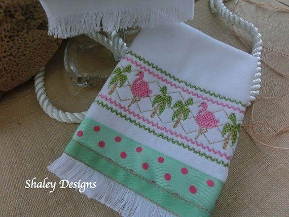 Flamingo's and Palm Trees Hand Towel/Small Flamingo Hand Towel/Hostess Gift