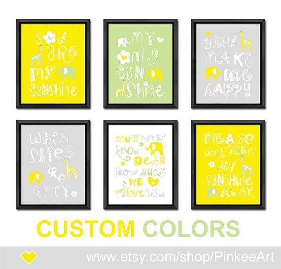 yellow gray green you are my sunshine baby wall decor safari nursery ...