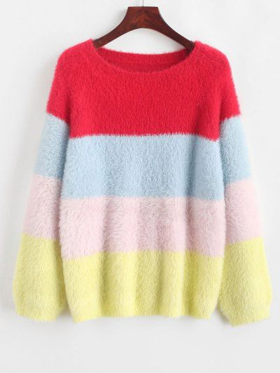 Color Block Raglan Sleeve Fuzzy Knit Sweater L Multi a – Spring Outfit
