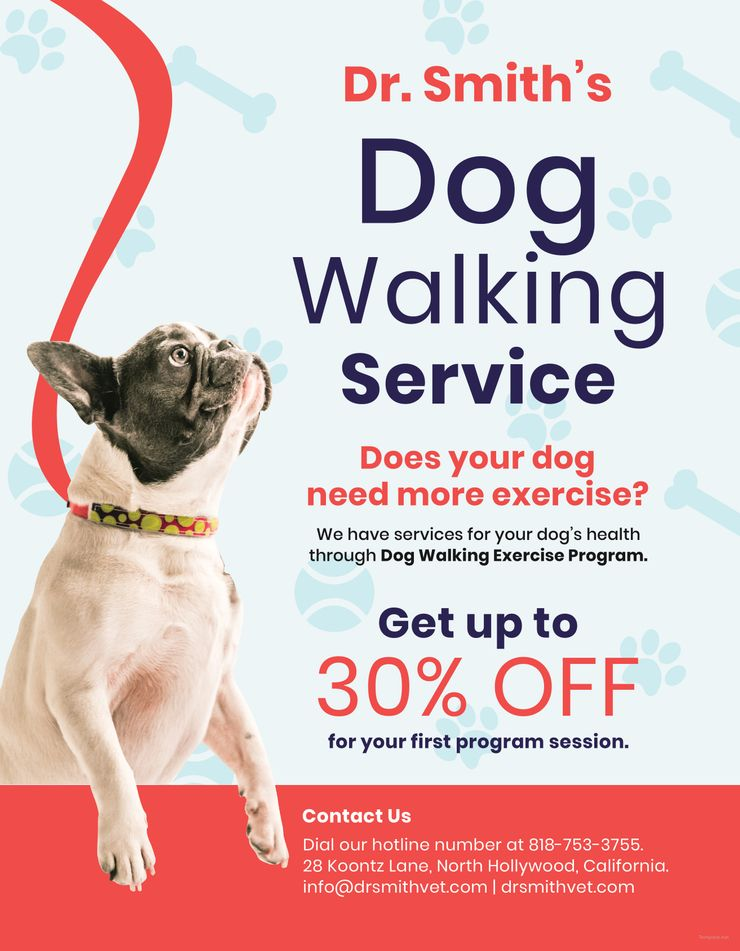 Free Dog Walking Service Flyer With Images Dog Walking