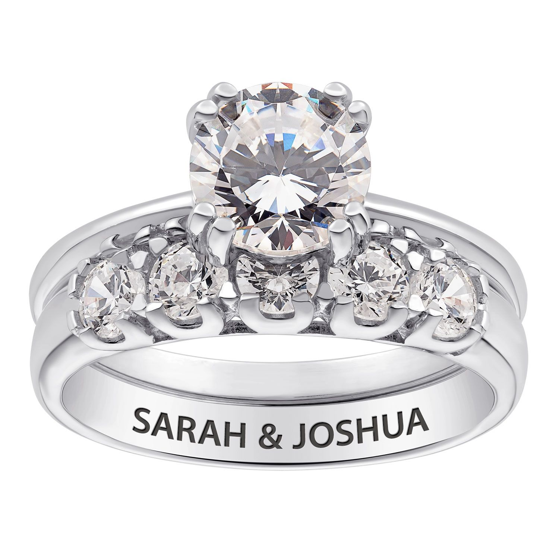 Zales Wedding Sets In 2020 Engraved Wedding Rings Cz Wedding Ring Sets Wedding Ring Zales
