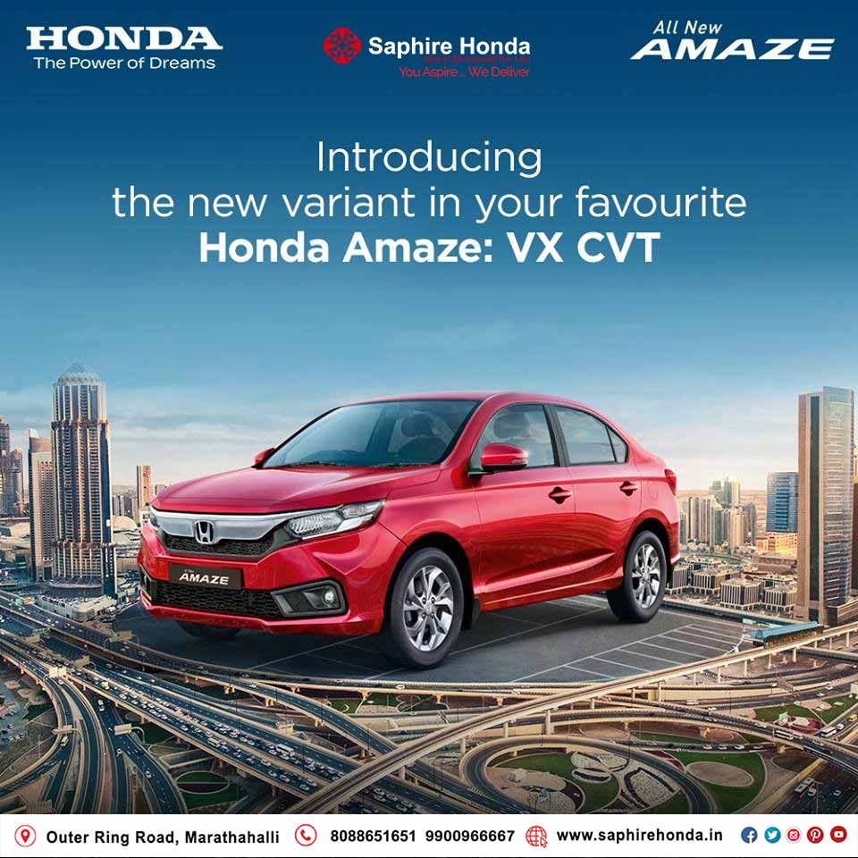 Introducing VX CVT grade in your favourite Honda Amaze! Visit:  or Call: 8088651651 #HondaAmaze #HondaOffer #HondaCars