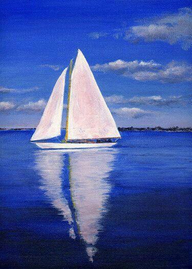 Blue Water White Sail Boat Sailboat Painting Boat Painting Art